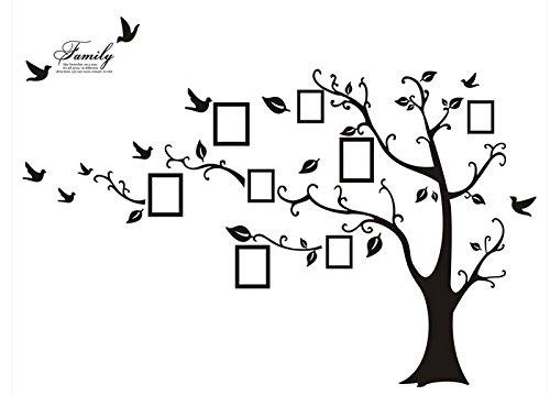 Rainbow Fox Regenbogen Fox PVC Riesig Schwarz Bilderrahmen Speicher Baum Vine Zweig Abnehmbare Schöne große schwarze Bilderrahmen , die auf der Baum Zweige und Soaring Vogel-Kunst-Wand-Aufkleber und Familie-Beschriftung Abziehbilder für Wohnzimmer, S