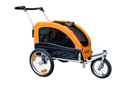 Booyah Medium Dog Stroller & Pet Bike Trailer with Suspension - Orange