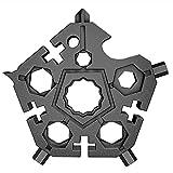 SIGNABOT Herramienta de CombinacióN Multifuncional 23 en 1 Llave de Copo de Nieve de Cinco Puntas Edc Colgante de Llave PortáTil para el Hogar (Negro)
