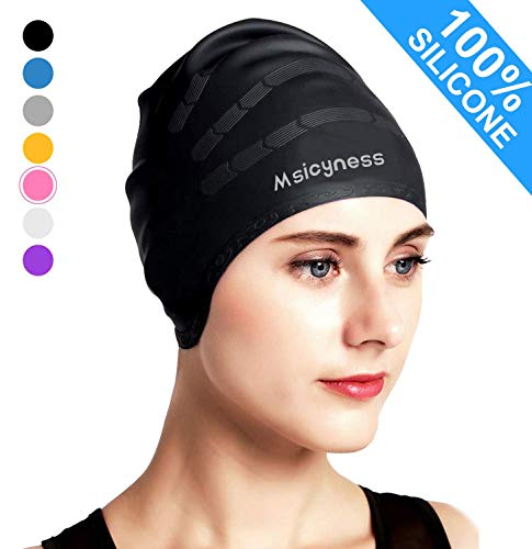 Msicyness Swimming Caps for Men and Women Long/Short Hair Silicone Stretchy Swim Hats Cover Ears Unisex Adult Youth Size