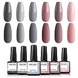 Modelones Gel Nail Polish Set - Nude Gray Series 6 Colors Gel Polish Set Kit LED Soak Off Gel Polish 0.33 OZ 10ML