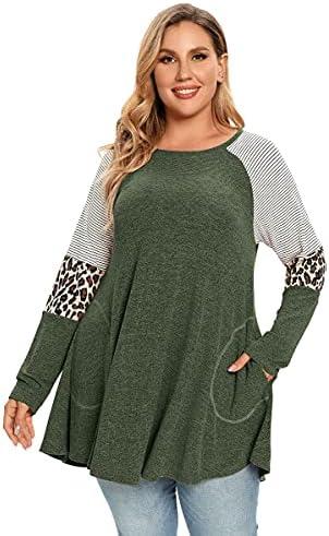 ZENNILO Plus Size Tunic Tops For Women Long Sleeve Tee Shirt Leopard Print Tops For Women
