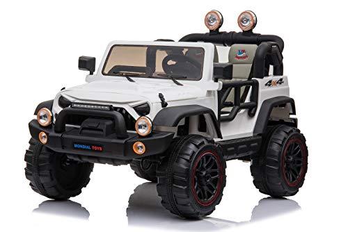 Mondial Toys Auto ELETTRICA 12V per Bambini 2 POSTI Maxi Fuoristrada con Telecomando 2.4G Soft Start AMMORTIZZATORI Full Optional Bianco