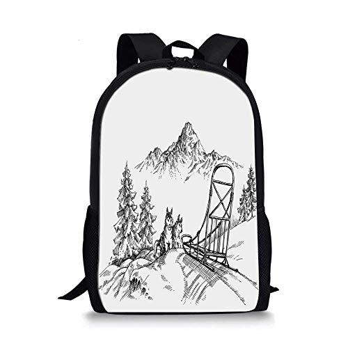 AOOEDM Backpack Alaskan Malamute Mochila Escolar con Estilo, Paisaje de montaña en Invierno, Trineo de Perros, árboles de Pino, Arte Salvaje, Decorativo para niños, 11