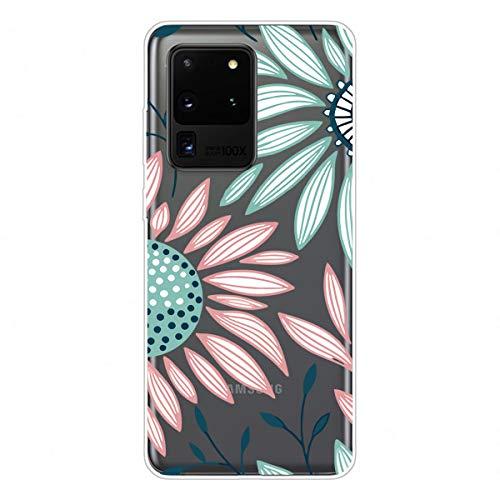 Nadoli Transparent Silikon Hülle für Samsung Galaxy S20 Ultra,Durchsichtig Klar Lustig Kreativ Leicht Dünn Weiche Stoßfest Handyhülle Schutzhülle mit Rosa Grün Blume Muster