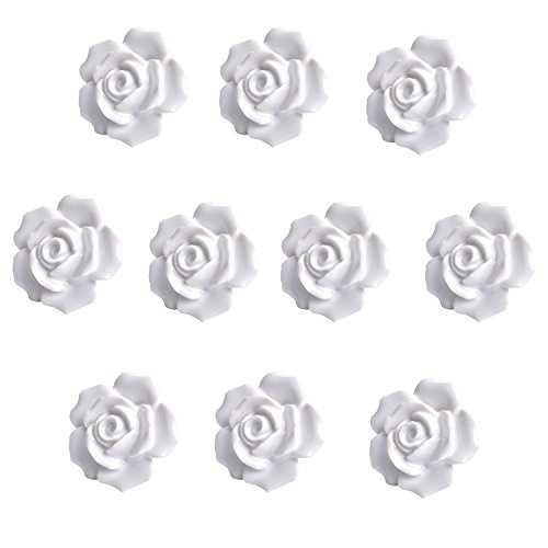 eoocvt 10pcs Ceramic Vintage Floral Rose Flower Door Knobs Handle Drawer Kitchen + Screws (White)