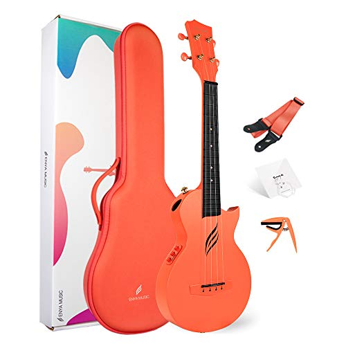 Ukulele Concerto Elettrico Enya Nova U/OR EQ 23 pollici Ukelele Kit per Principianti e Professionale con Tutto il Corpo in Fibra di Carbonio Borsa Tracolla Capotasto Corde(Arancio)