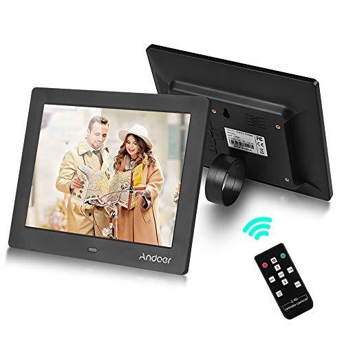 Andoer 8 inch digitaal fotolijst LED-scherm Eenvoudig elektronisch beeld Fotoalbum Ondersteuning 2.4G Afstandsbediening Klok Muziekvideo met standaard Beugel Cadeau voor familievrienden Ouderen