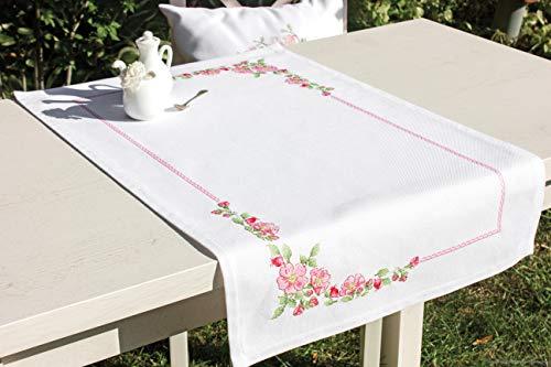 Luca-S FM010 - Camino de mesa (algodón, 75 x 46 cm), diseño de flores, multicolor