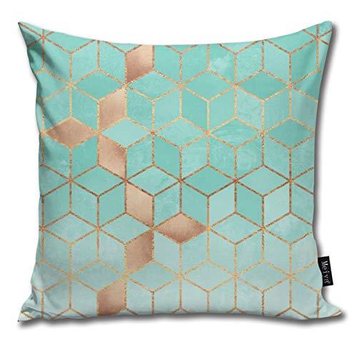 Fundas de cojín cuadradas y divertidas de color aguamarina, para dormitorio, sala de estar, decoración de 45,7 x 45,7 cm