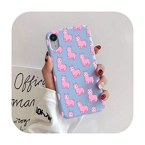 Llama Alpaca patrón teléfono caso para iPhone 11 Pro Max X XS Max XR Candy Color suave cubierta para iPhone 7 8 6 6S Plus Funda Cases-A1-Para iphone7 u 8