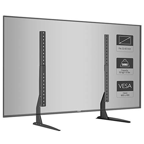 BONTEC Universal TV Ständer für LCD LED 22-65 Zoll Fernseher Tisch Standfuß Fernsehtisch TV Halterung Höhenverstellbar Fernsehstand