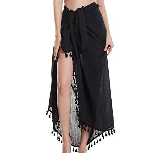 Eicolorte Hawaiian Beach Sarong Pareo Women Bikini Cover Up Swimsuit Wrap Skirt Swimwear (Black-Long)