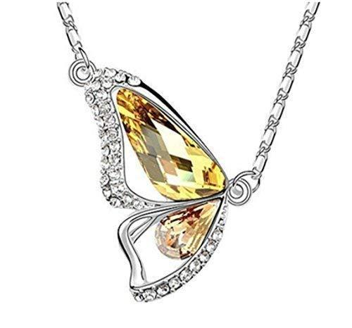 Unbekannt Schmetterling Kristall Strass Halskette Kette Collier Gelb