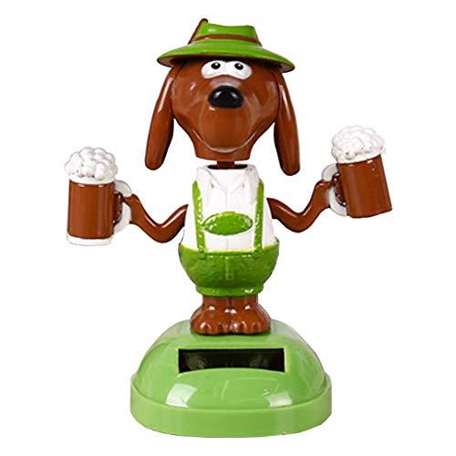Vektenxi Bier Hund Auto Schreibtisch Ornament Spielzeug, Kunststoff Solar Power Bier Hund Auto Ornament Wohnkultur Flip Flap Pot Schaukel Spielzeug tragbar und nützlich