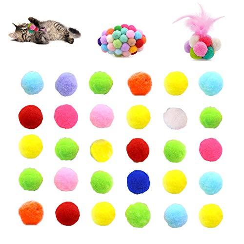 Chingde Katzenspielzeug Bälle Plüsch, 32 Stück Flauschigen Plüsch Bälle Kratzfes Katzenspielzeug Bälle mit Glöckchen für Katzen Kätzchen Hund Training Spielen Kauen Haustierbedarf