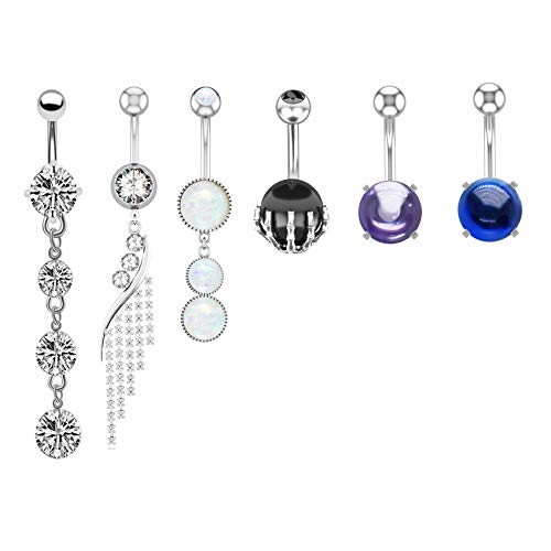 JDXN 6 Pcs 14G Stainless Steel Dangle Belly Button Rings Screw Navel Barbell Stud Body Piercing Jewelry for Women (6Pair Silver)