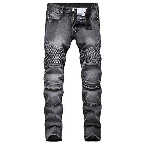YOUTHUP Jeans Homme Droit Stretch Pantalon Vintage en Denim Pantalon Nervuré Casual Jeans de Motard Été