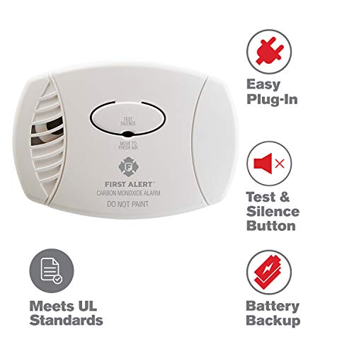 First Alert CO605 Plug-In Battery Backup CO Alarm, 1 pack, White