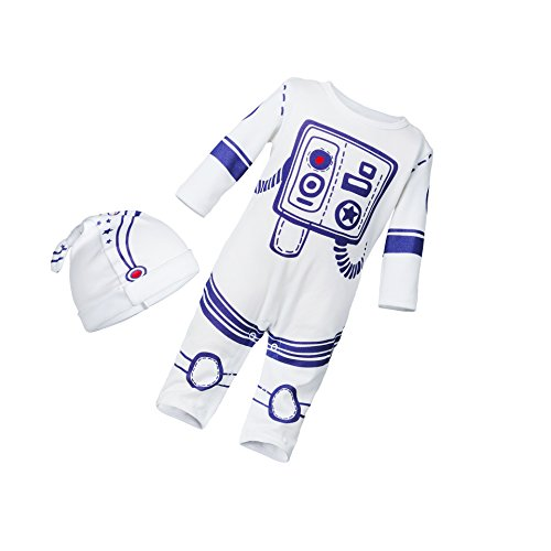 Face Dream 2pcs Baby Boy Girl Jumpsuit One Piece Romper Spaceman Astronaut Outfit With Hat White 59(0-3M)