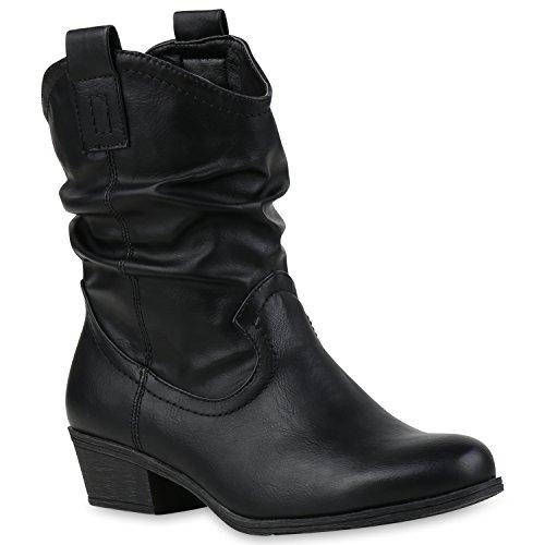 Damen Cowboy Boots Stiefel Holzoptikabsatz Leder-Optik Stiefeletten Booties Trichterabsatz Schuhe 41752 Schwarz Carlet 36 Flandell