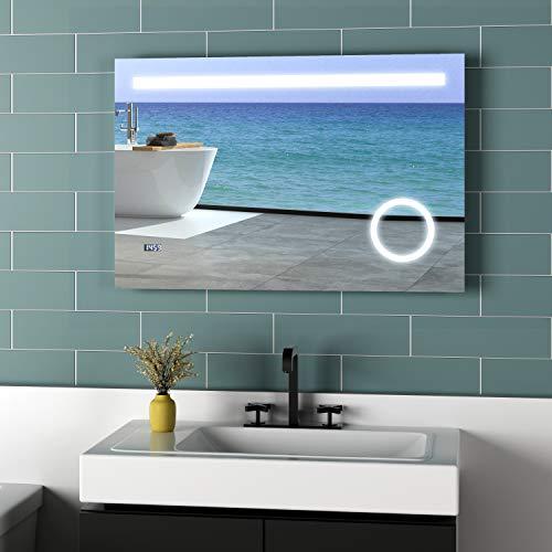Meykoers LED Beleuchtung Badspiegel 100x60cm Spiegel mit 3-Fach Vergrößerung, Uhr und Sensor-Schalter, Lichtspiegel Kaltweiß 6400K Energieklasse A++