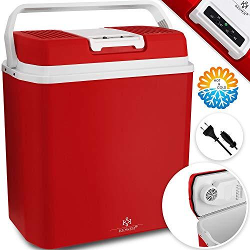 KESSER® 24 Liter Kühlbox | KÜHLT und WÄRMT | Thermo-Elektrische Kühlbox 12 Volt und 230 Volt | Mini-Kühlschrank | für Auto und Camping | EEK A+++ | Mini-Kühlschrank | Auto und Camping Rot