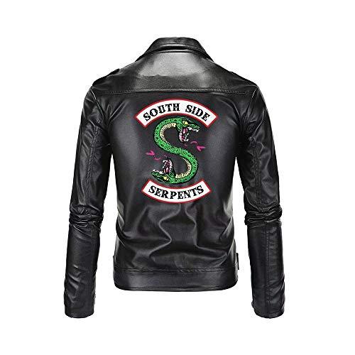 JiangJie Kawaii Southside Riverdale Serpent Bedruckte Schwarze PU-Lederjacken Herren Riverdale Serpents Streetwear Ledermantel Herren Ride Clothing Jacken Leder