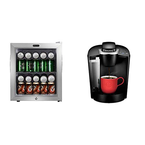 Whynter BR-062WS, 62 Can Capacity Stainless Steel Beverage Refrigerator with Lock, White & Keurig K-Classic Coffee Maker, Single Serve K-Cup Pod Coffee Brewer, 6 to 10 oz. Brew Sizes, Black