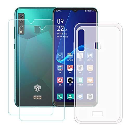 DQG Panzerglas + Hülle für Hisense King Kong 6,Semi-Transparent Cover TPU Handyhülle Silikon Tasche Hülle Schutzhülle - 2 Stück Gehärtetes Glas Schutzfolie für (6.52
