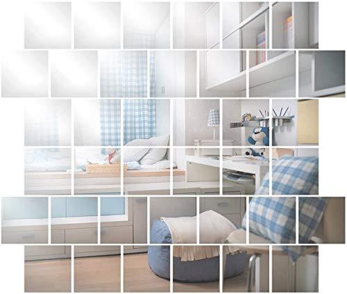 Anladia Wandspiegel Spiegelfliesen Selbstklebend 15x15cm, 32 Stück Quadratische Spiegel Silber für Badezimmer Küche Wohnzimmer Umkleidekabine Büro