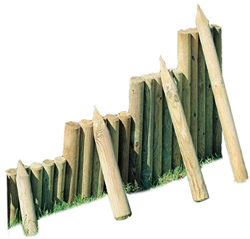 Gartenpirat Palisade ø 8 cm 50 cm Lang aus Holz imprägniert zur Beetumrandung