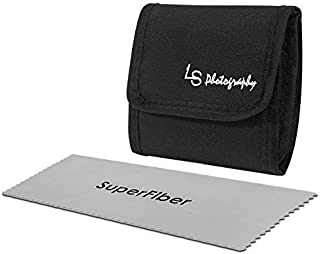 LS Photography x 3 Pocket Camera Lens Filter Case Carry Pouch for Round Circular or Square Filters and Black SuperFiber Lens Cleaning Cloth 2 pcs LGG54