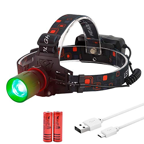 WindFire New Green Light Hunting Headlamp CREE XML-T6 Super Bright Zoomable Green LED Hunting Headlight Night Hunting Light with Adjustable Focus for Coyote,Predator,Hog,Batteries & Charger Included