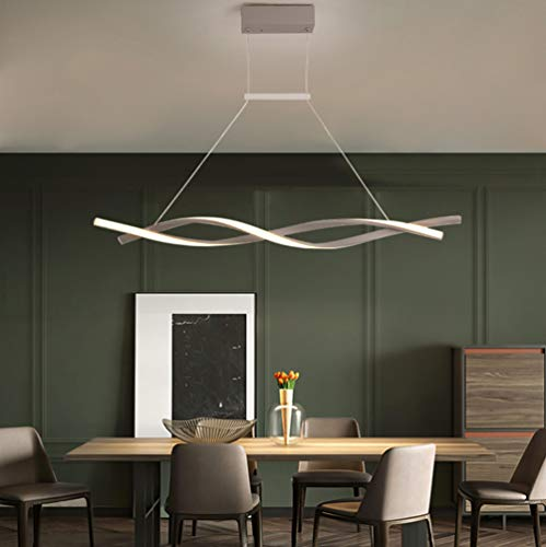 LED Lamparas de techo Modernas para Mesa de Comedor Salon Colgantes Regulable con Control Remoto Luz de Techo Espiral Pantalla de acrílico Diseño Lámpara Cocina Oficina Habitacion Iluminación Gris L80