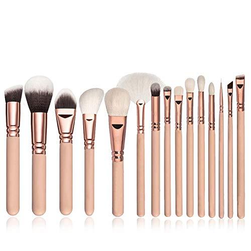 Fanxp 15Pcs Ensemble de pinceaux de maquillage multifonctionnel, poudre libre Blush fard à paupières Highlight Brush Lady Beauty Tools