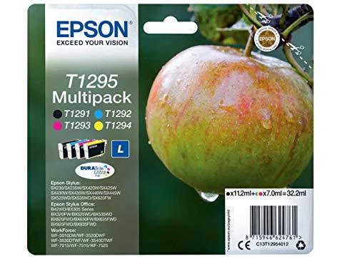 EPSON Cartuchos de tinta originales T1295 C13T12954012, 4 unidades, 11,2/7 ml (negro/blanco/color) (4 unidades)