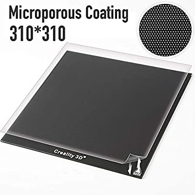 Creality Upgraded 3D Printer Platform Glass Plate Panel 310X310MM Heated Bed Glass Print Bed Build Surface with Microporous Coating for for CR-10 CR-10S