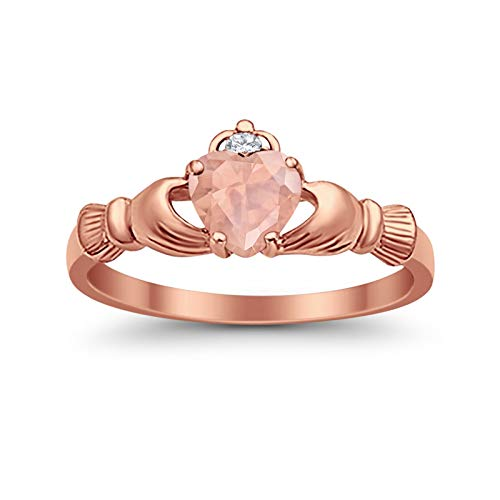 Blue Apple Co. 925 Sterling Silver Claddagh Ring Rose Tone Plated Heart Simulated Morganite CZ Accent Wedding Ring