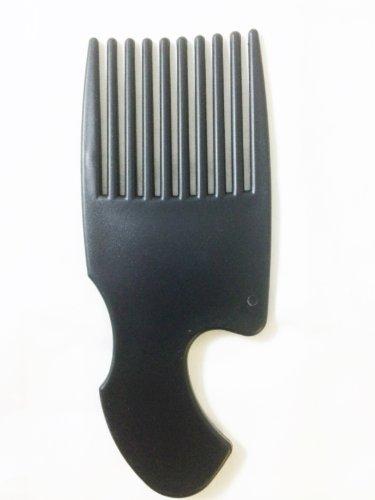 Peigne démêlant à large dents en plastique pour cheveux de type africain - Idéal pour coiffer et démêler les cheveux - Noir