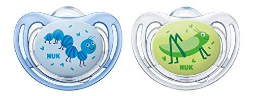 NUK 10175201 Freestyle Silikon-Schnuller, kiefergerechte Form, 0-6 Monate, 2 Stück, Boy, blau