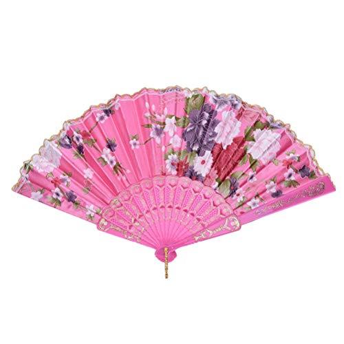 Xushiwanju Accessori Estivi Pieghevole Ventaglio Danza Matrimonio Festa Di Pizzo Seta Pieghevole A Mano Modello Fiore Ventaglio Belle Decorazioni (Colore: Rosa)