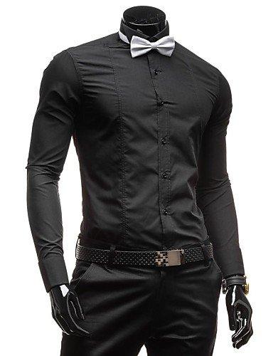 HAN-NMC Men's Pure Formelle Robe Shirts,M,Black