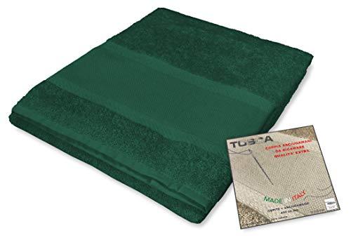 Tex family Tosca - Juego de toallas de rizo para bordar con punto de cruz 1 + 1, para cara e invitados, color verde oscuro