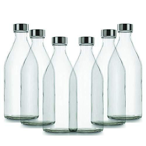 BrandPrint, set di 6 Bottiglie in Vetro per Acqua Modello Poseidone 1 Litro con Tappo a Vite in Acciaio Inox. Per Bevande e Succhi.