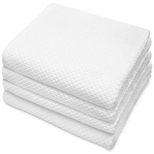COTTON CRAFT- Euro Spa Set of 4 Luxury Waffle Weave Bath Towels, Oversized Pure Ringspun Cotton, 30 inch x 56 inch, White