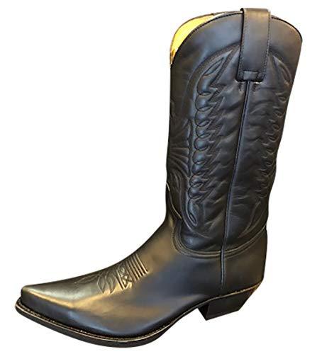 Sendra 2073 Stiefel Boots Cowboystiefel Westernstiefel Schwarz Unisex Inclusive Roy Dunn´s Lederfett und Sendra Tragetasche (41)
