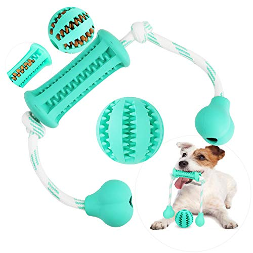 Dog Chewing Toys, Vaburs Rubber Dog Toys Puppy Teething Toy Pet Toy Ball with Cotton Rope & Rubber for Puppies and Small Dogs Cleaning Teeth Training (L, Blue)