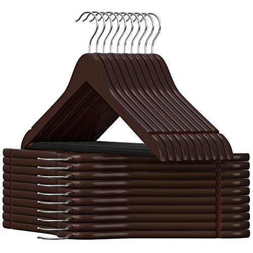 SONGMICS Kleiderbügel aus Holz, für Anzüge, 20er Set, Jackenbügel aus Massivholz, Einkerbungen im Schulterbereich, rutschfest, Jacken, Hemden, Hosen, um 360° drehbarer Haken, Dunkelbraun CRW05K-20