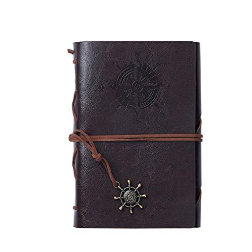ZANZAN Cuadernos de Notas Piel náutico de la Vendimia A6 Escritura Cuaderno, Diario Recargable Relieve Diario de Viaje Diario Cuaderno con Espiral, Retro Colgantes blocs de Notas (Color : Brown)